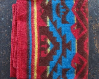 Vintage 50s Camp Blanket Red Blue Beacon Large Throw Cotton Rayon