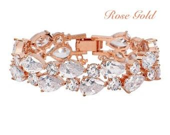 Large rose gold bracelet, gift for her, swarovski rose gold bracelet, rose gold bridal bracelet, rose gold jewelry, bridal rose gold bangle