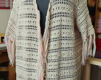 Openwork Crochet Long Fringed Waistcoat