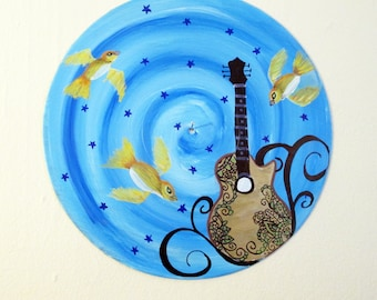 Vinyl record art - Guitar with Yellow Birds original painting - Recycled wall art, music lover gift, hipster, country, room decor, rock,