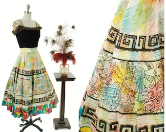 1950s Vintage Skirt  - Hand Painted Mexican Novelty Skirt with Mayan Motifs, Greek Key and Bright Colors