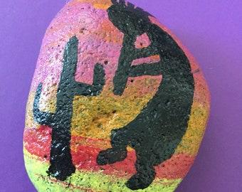 One of a kind handpainted Kokapelli rock