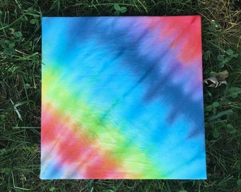 "Rainbow Tie Dye Canvas 10"" x 10"""