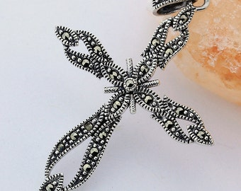 Marcasite Cross Pendant // 925 Sterling Silver  // Handmade Pendant Jewelry
