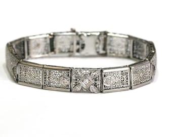 Edwardian Vintage Diamond 14k White Gold Filigree Bracelet