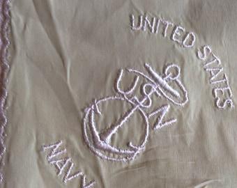 Vintage Green USN Navy Handkerchief