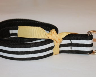 Kids Striped Ribbon Belt Black and White Preppy Boys Girls