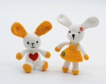 Couple of bunnies, Children's day, crochet rabbits, mini bunnies, Amigurumi bunny, yellow rabbits, stuffed bunnies, handmade toys gift