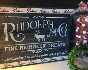 Rudolph holiday sign