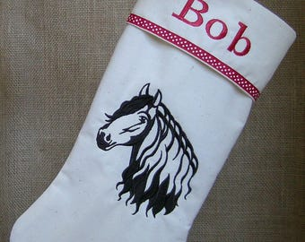 Christmas Stocking, Embroidered Stocking, Personalized Stocking, Embroidered Christmas Stocking, Christmas, Embroidered Horse