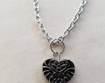 Silver Heart Charm Chain Choker, Silver Heart Choker, Silver Heart, Silver Chain Choker, Silver Pendant, Silver Chain Necklace, Charm