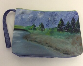Handmade OOAK Oversized Nature  Oil Painting Clutch Bag
