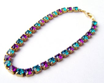 Blue Zircon and Amethyst rhinestone tennis bracelet . peacock rhinestone bracelet . Swarovski crystal . teal purple gift for her vintage