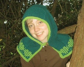 Green Hearts Hooded Capelet