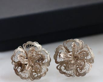 Vintage Filigree Sterling Silver Screw Back Earrings - Statement Flower Earrings