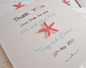 Personalised Wedding Starfish Beach Themed Thank You Cards (Pack of 10)