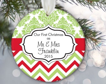 Our First Christmas as Mr and Mrs Ornament, in damask and chevron, Personalized Mr and Mrs, Newlywed Holiday Ornament, Just Married OR560