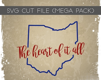 Ohio heart SVG - Heart of it all SVG - Ohio SVG - Ohio Cutting File - Ohio Silhouette File for Cutting - Ohio heart sag - 2 Designs