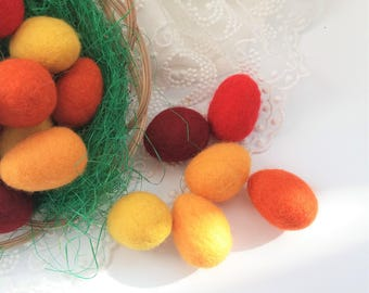 Felted eggs 15 pieces Easter eggs Wet felt easter decor Mixed colors eggs Red yellow orange decor Set of 15 felted eggs for Easter wreath