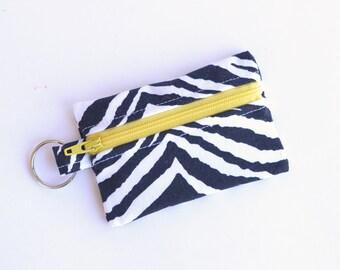 Business Card Holder, Small Zipper Pouch, Flash Drive Holder Zebra Print