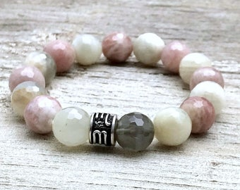 Moonstone Minimalist  Pink  and  White Beaded Stretch  Bracelet     Gift for Her, Under 140 Free US shipping
