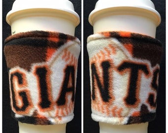 Set of 2 San Francisco Giants Baseball Fleece  Fabric Coffee Cozy ,  Disposable  Coffee Cup Holder - Coffee Sleeve - Coffee Cozies