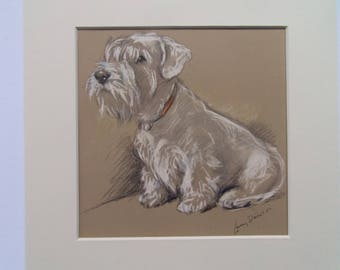 "Sealyham dog print by Lucy Dawson dated 1935 in 9""x9"" mount ready to frame"