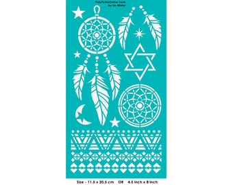 "Stencil Stencils Pattern Template, Reusable, Adhesive, Flexible, for polymer clay, fabric, wood, glass, cards | DREAM CATCHER | 4.5""-8"""