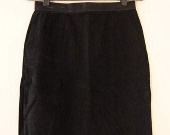 90's Black Suede Skirt