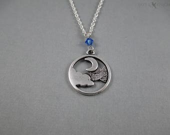 Moon and Clouds Charm Necklace - Silver