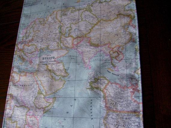 Map fabric runner 6ft table runner world map table runner map fabric runner 6ft table runner world map table runner map table runner world table runner blue table runner map table cloth gumiabroncs Gallery