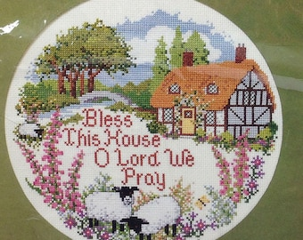 Bless this House Creative Circle Round Counted Cross Stitch Picture #0616