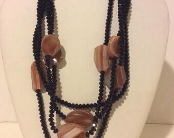 Black onyx and orange agate layered chunky necklace