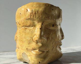Ceramic Face Cup, Four Winds Wabi Sabi Bodhisattva Head Sculpture Yunomi