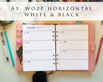 A5 planner inserts - week on 2 pages (WO2P), horizontal, Mon-Sun, white and black, pre-punched (A5h.7)
