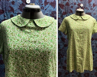 Vintage 60s Green Mod Handmade Mini Dress
