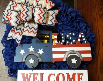 Welcome 4th of July, Welcome Wreath, 4th of July, Fourth of July Wreath, Burlap American Flag, Flag Wreath, Welcome Truck, Patriotic Wreath