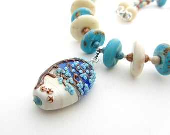 Beach Tree Necklace, Lampwork Glass Beads, Bone and Marble