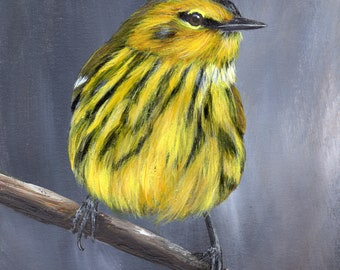 Bird Art - Bird Painting - Cape May Warbler -SFA- Original Wildlife Acrylic Painting - Bird lover Gift - Wall Art -  Realistic Bird