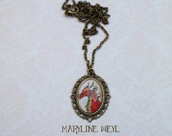 Dragon red cabochon necklace