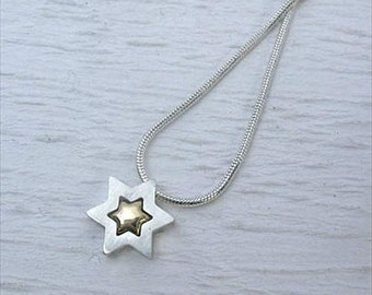 Sterling Silver & 14K Gold Star Of David Necklace