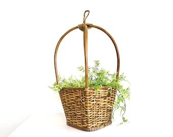 Vintage Hanging Basket | Plant Holder | Rattan | Hanging Storage | Light Wood | LARGE | Rustic
