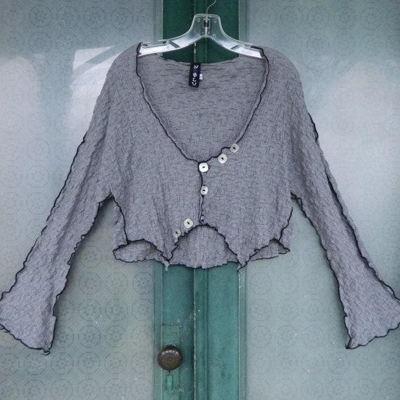 No Blu Crop Jacket -L- Steel Gray Seersucker Cotton/Spandex NWT
