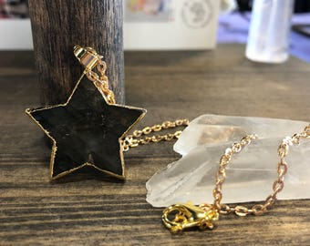 READY TO SHIP black star necklace on gold plated chain