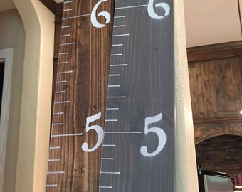 Wooden Growth Chart (stained and painted)