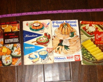 4 Cookbooks your choice 1955 500 Delicious Leftovers 1954 Knudsen 1954 Quick Dishes 332 Recipes 30 minutes or less 50's Pillsbury Bake-off