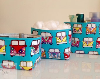 Fabric Storage Box Set - Campers Vans     -  Gift for Her, Gift for Wife, Gift for Women , Gift for Mum ,   Gift for Teen