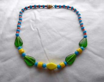 Lemon Lime Sublime Vintage Mardi Gras Czech Glass Beads - 1920s