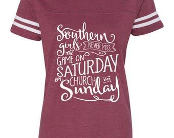 Football Saturday Shirt - College Football shirt - Southern Girl Shirt - Church on Sunday - Football on Saturday - Christmas Gift For Her