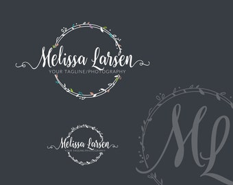Logo Design - Photography Watermark - Custom Photography Logo - Wreath - Business Logo Design